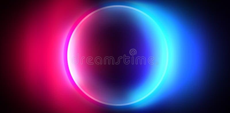 空的黑暗的未来派有光和圈子形状的霓虹灯的科学幻想小说大霍尔室 黑暗的霓虹背景 库存例证