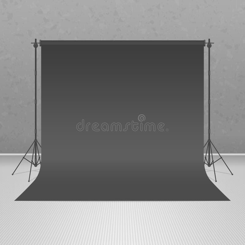 空的黑照片演播室 向量例证