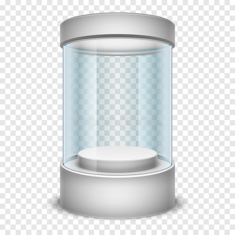 空的玻璃商店圆筒陈列室,在透明背景传染媒介例证的显示箱 皇族释放例证