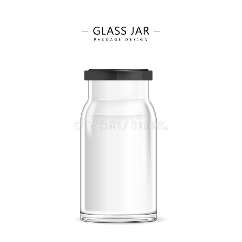 空的玻璃瓶子模板 库存例证