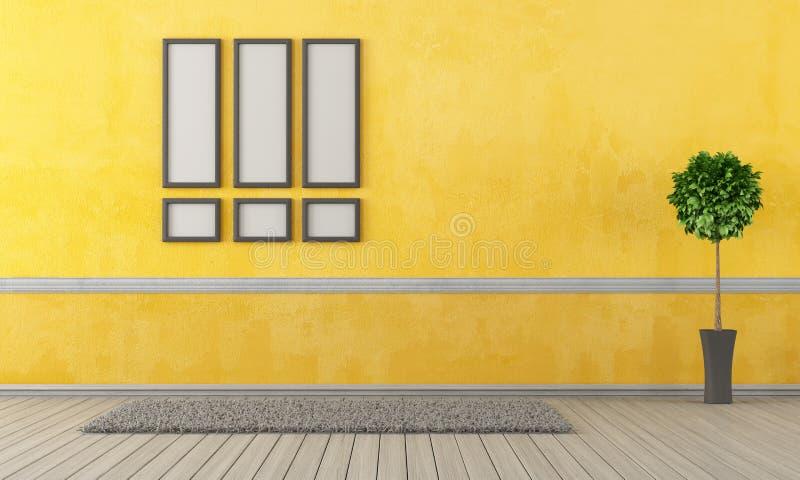空的黄色客厅 向量例证