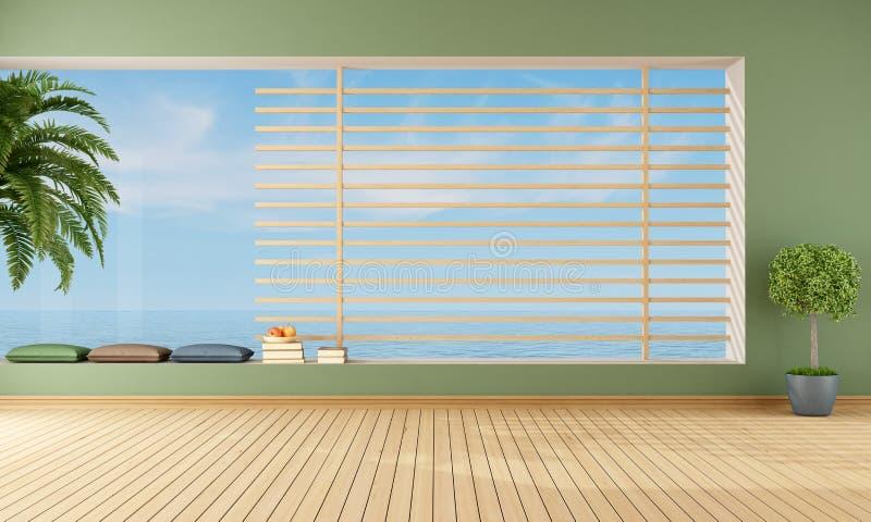 空的绿色客厅 向量例证