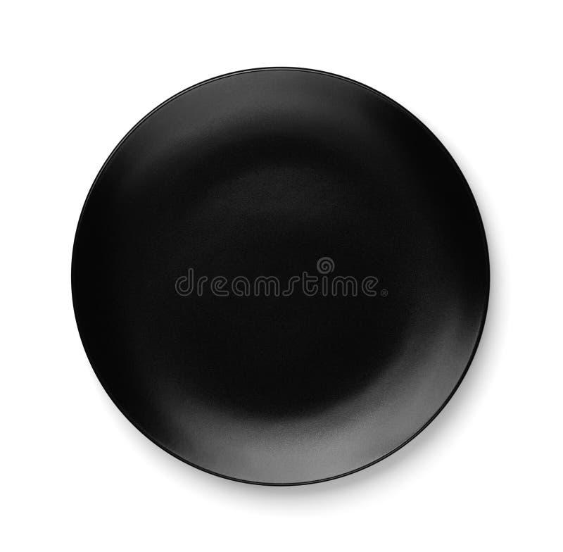 空的黑色的盘子顶视图  免版税库存图片