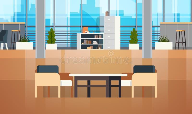 空的Coworking空间内部现代Coworking办公室创造性的工作场所空间 库存例证