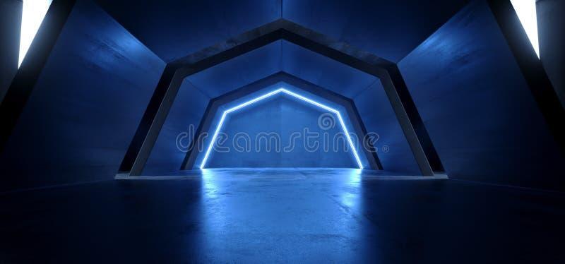 空科学幻想小说未来派曲拱蓝色发光的黑暗的难看的东西反射性具体隧道走廊走廊外籍人太空飞船的虚拟现实 向量例证