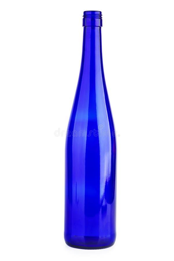空蓝葡萄酒瓶。空蓝酒瓶 库存图片