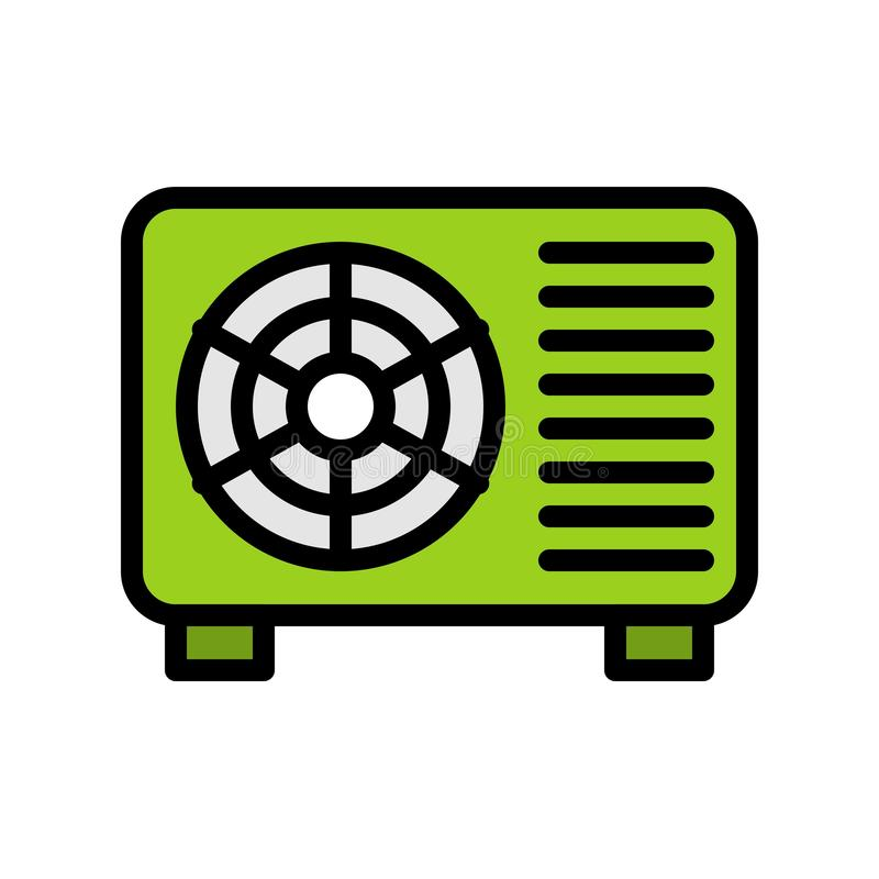 空调压缩机单位向量例证,填装了样式象编辑可能的概述 向量例证