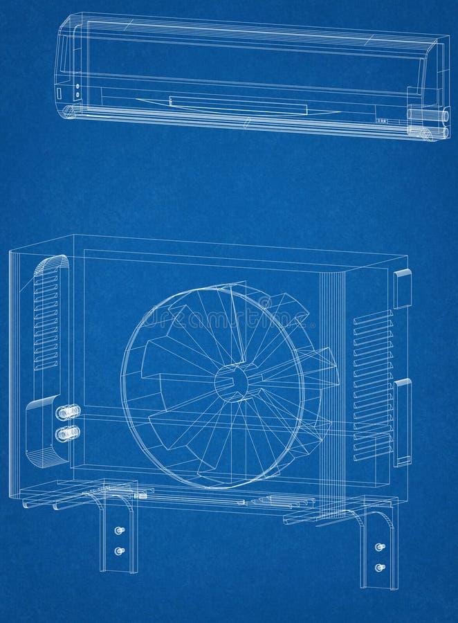 空调器建筑师图纸 库存例证
