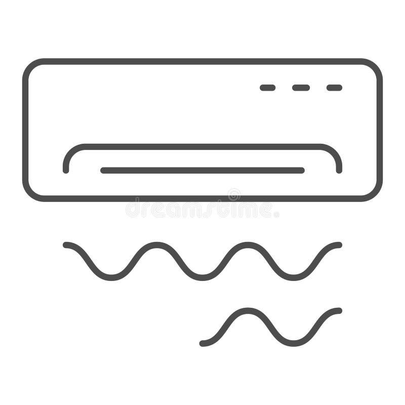 空调器稀薄的线象 在白色隔绝的冷却的传染媒介例证 更酷的概述样式设计,设计为 向量例证