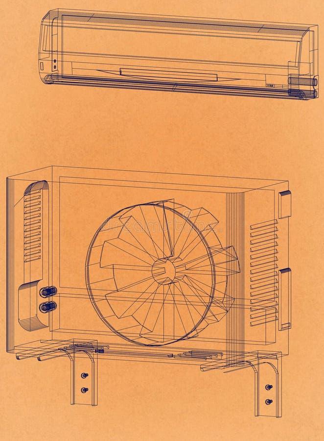 空调器-减速火箭的建筑师图纸 库存例证