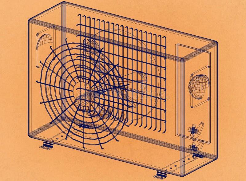 空调器-减速火箭的建筑师图纸 向量例证