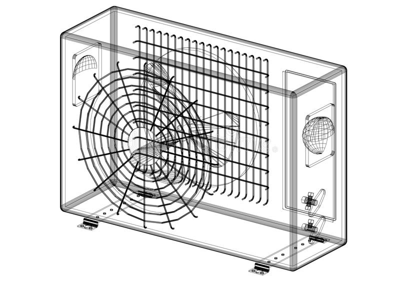 空调器-被隔绝的建筑师图纸 皇族释放例证