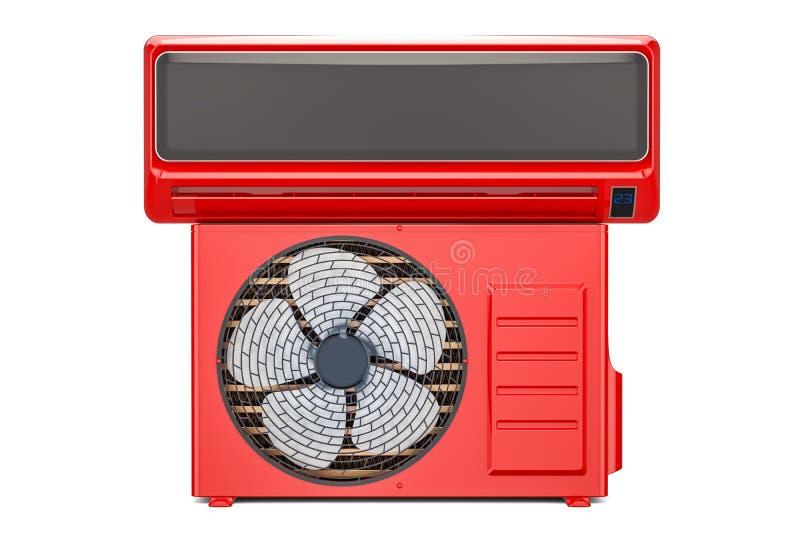 空调器系统,红颜色 3d翻译 皇族释放例证