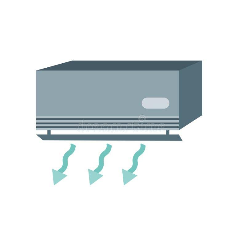 空调在白色背景隔绝的象传染媒介,空调标志,天气符号 皇族释放例证