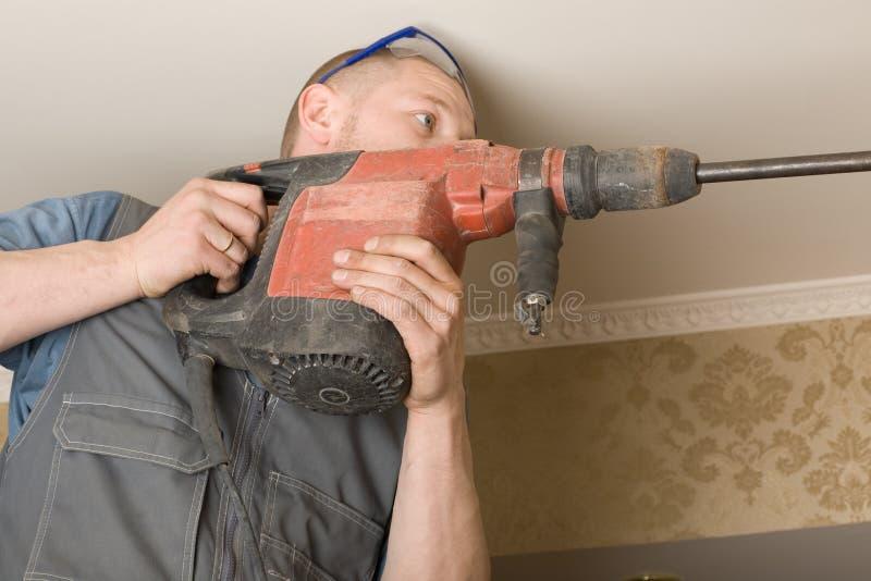空调操练技术人员墙壁 库存照片