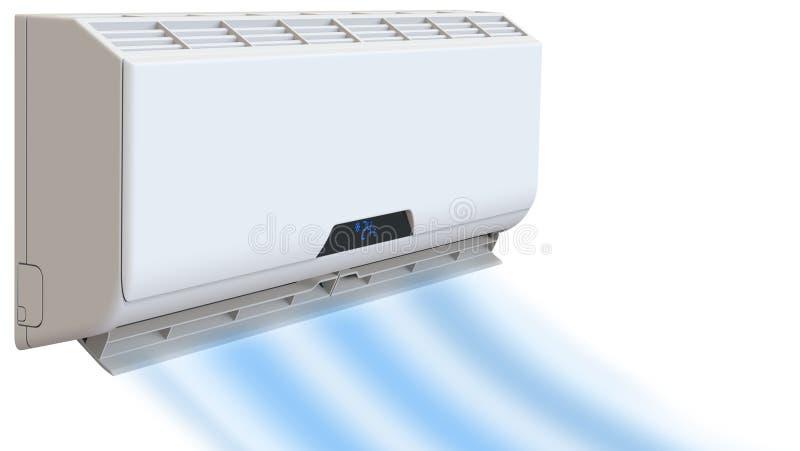 空调,凉爽的微风吹寒冷 3D在白色背景回报, 向量例证