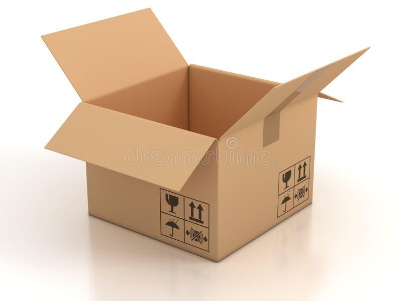 空配件箱的纸板开张 库存例证