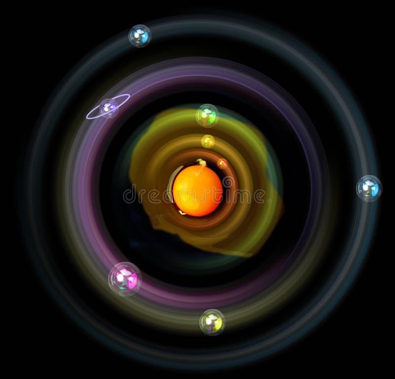 空间、演变和行星用鸡鸡蛋 生活和无限的标志 在轨道的行星在卵黄质附近 食物和 免版税库存照片
