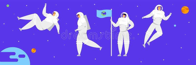 空间人,佩带太空服与地球图象的宇航员字符藏品旗子在满天星斗的深蓝天空背景 皇族释放例证