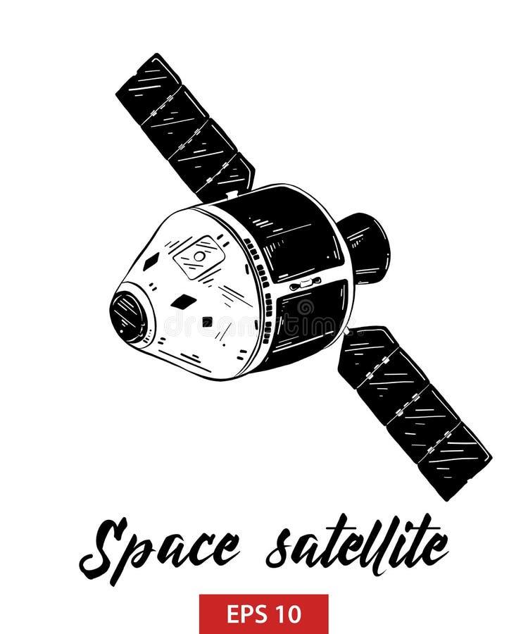 空间卫星手拉的剪影在白色背景在黑的隔绝的 详细的葡萄酒蚀刻样式图画 向量例证