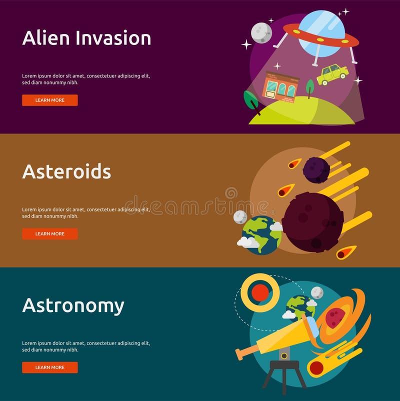 空间和宇宙横幅设计 皇族释放例证