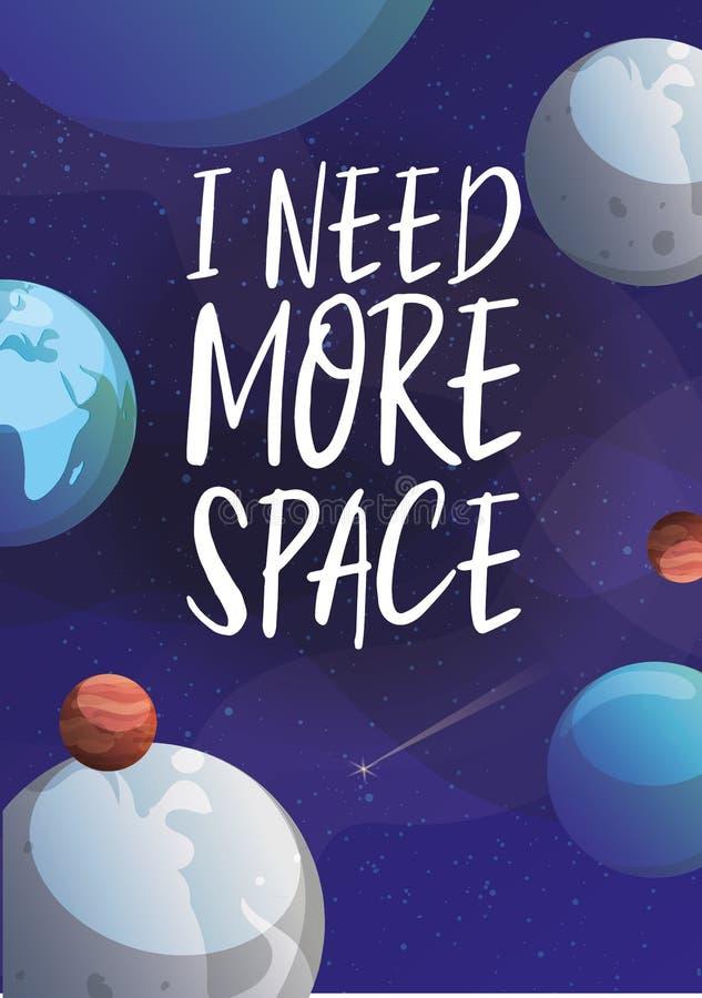 空间和行星在波斯菊宇宙传染媒介例证 与行星的动画片背景、小行星和星和空间 库存例证