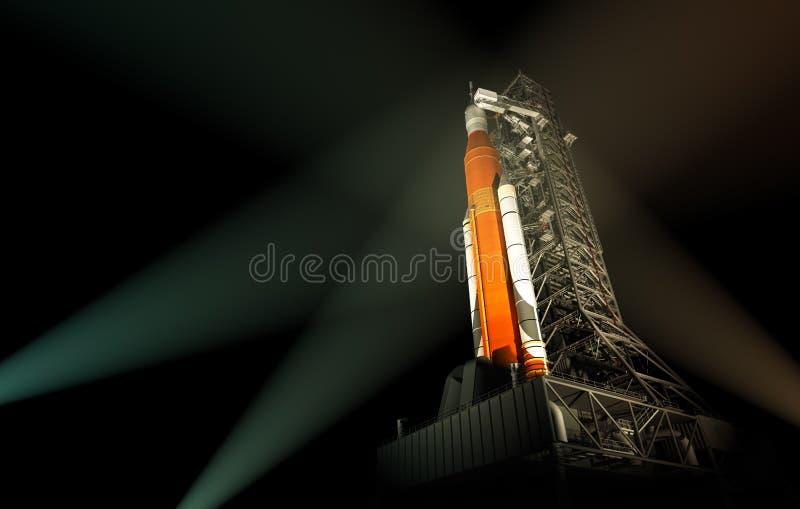 空间在聚光灯光芒的发射系统  库存例证