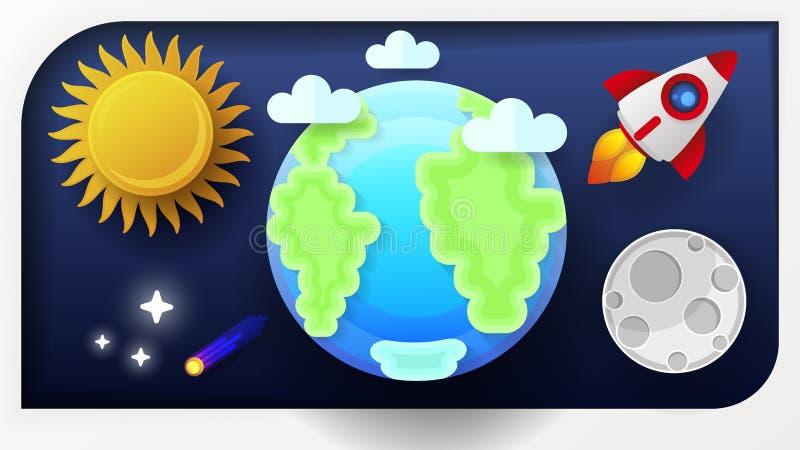 空间地球月亮和太阳传染媒介例证 向量例证