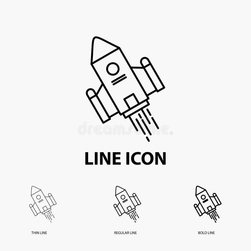 空间工艺,梭,空间,火箭,在稀薄,规则和大胆的线型的发射象 r 向量例证