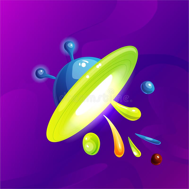 空间幻想行星,小行星,月亮,意想不到的世界运动会传染媒介动画片象,例证 颜色小行星和行星 向量例证
