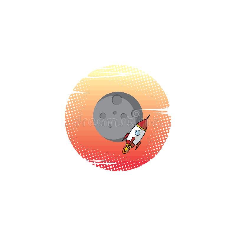 空间月亮远征旅行家火箭 向量例证