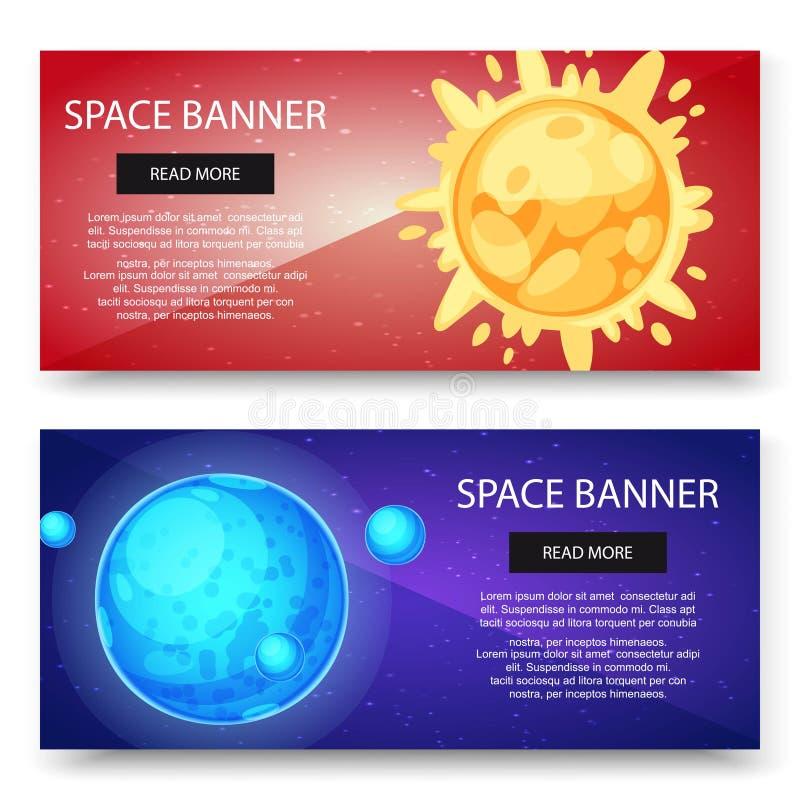 空间波斯菊和太阳系行星导航横幅集合 与卫星和太阳的蓝色行星在红色星系背景 库存例证