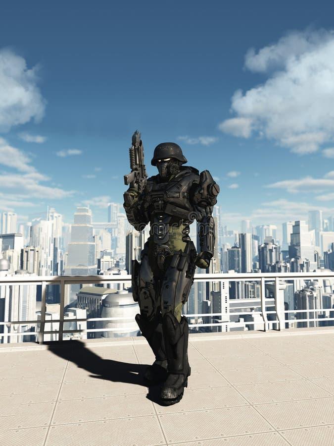 空间海洋特攻队-城市巡逻 向量例证