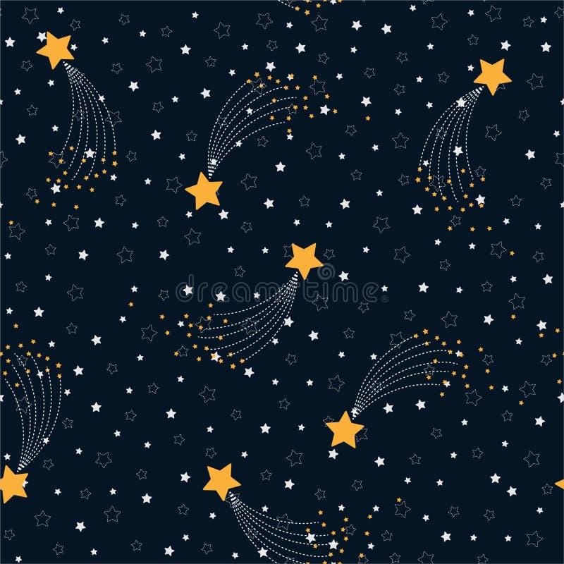 空间的传染媒介无缝的样式与星的在繁星之夜天空 现代在深蓝的背景装饰大黄色流星 向量例证