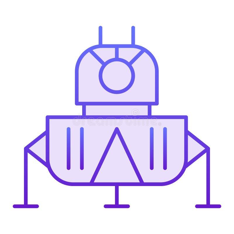 空间着陆模块平的象 在时髦平的样式的波斯菊紫罗兰色象 航天器梯度样式设计,设计为 向量例证