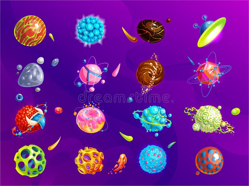 空间行星,小行星,月亮,意想不到的世界运动会传染媒介动画片象 颜色小行星和行星,例证 向量例证