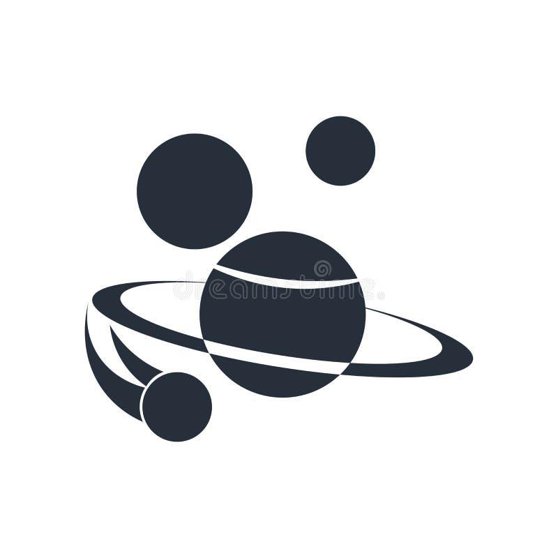 空间象在白色背景和标志隔绝的传染媒介标志,空间商标概念 皇族释放例证
