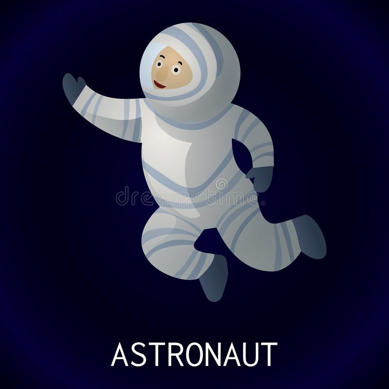 空间象的,动画片样式宇航员 库存例证