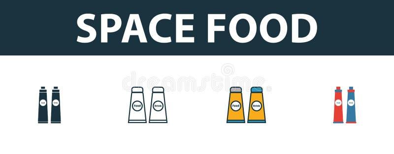 空间食品图标集 空间图标集合中不同样式的四个简单符号 Creative space food icons filled, outline 皇族释放例证