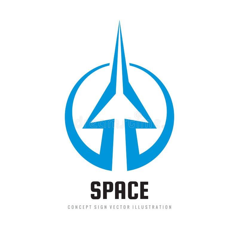 空间-概念商标模板传染媒介例证 抽象火箭创造性的标志 速度运输标志 箭头象 图象 库存例证