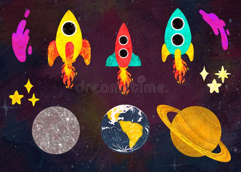 空间 设置与火箭、行星和星 向量例证