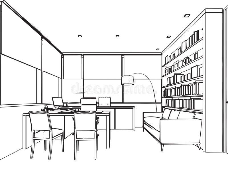 空间办公室的内部概述略图透视 皇族释放例证