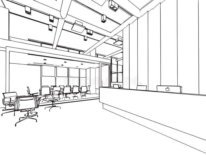 空间办公室的内部概述略图透视 向量例证