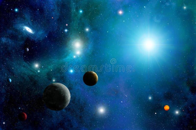 空间太阳和星背景 向量例证