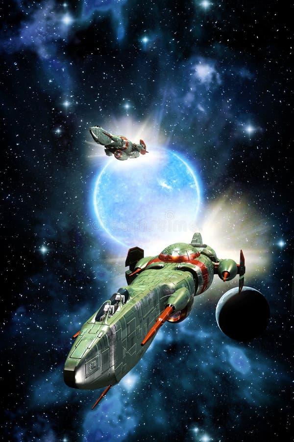 空间战斗机太空飞船和蓝色太阳 皇族释放例证
