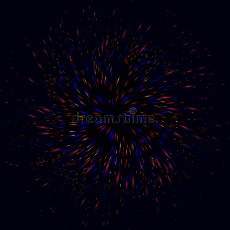空间漩涡卷毛发光与红色,蓝色颜色和黄色螺旋形状的光 免版税图库摄影