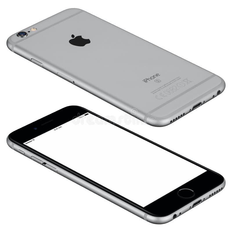空间灰色苹果计算机iPhone 6s大模型说谎表面上 库存照片