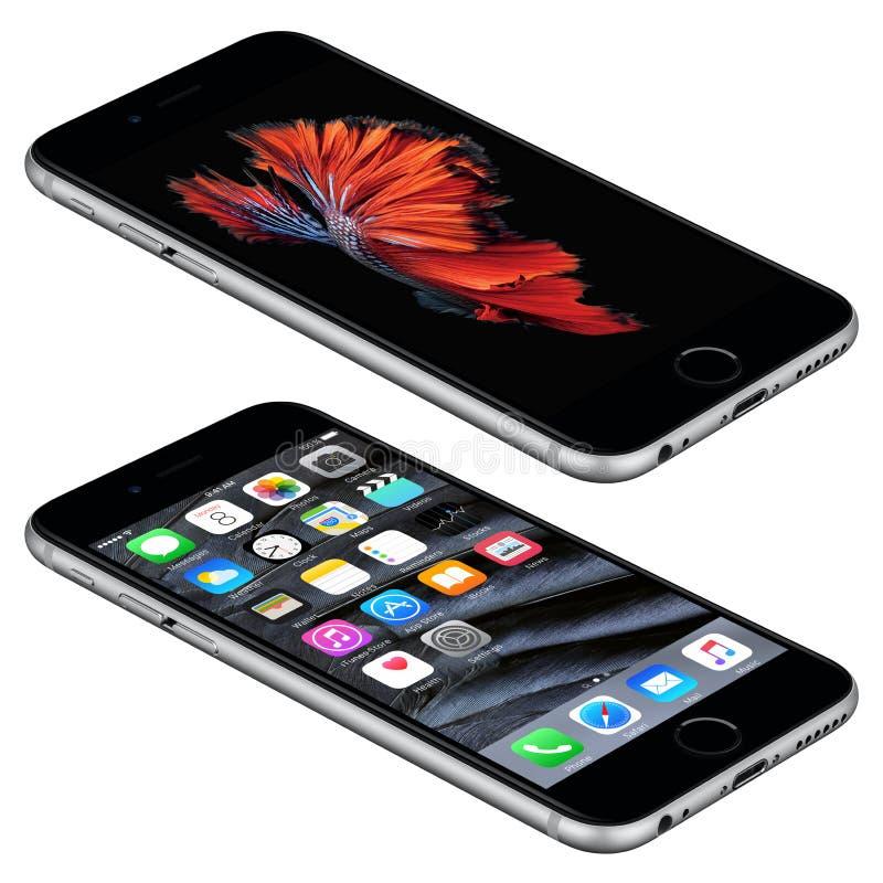空间灰色苹果计算机iPhone 6s说谎与iOS 9的表面上 库存照片