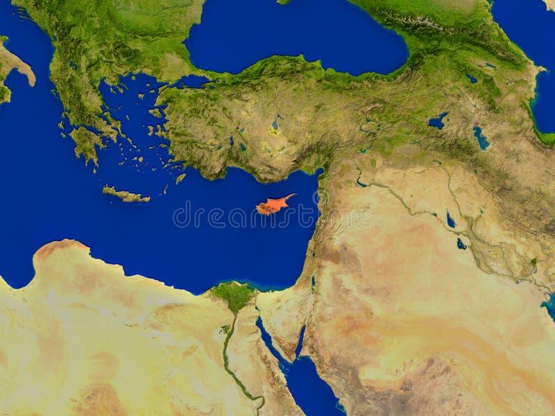 从空间的塞浦路斯在红色 库存例证