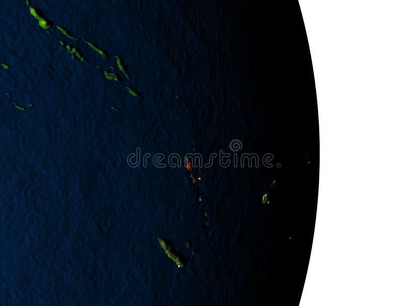 从空间的瓦努阿图在黄昏期间 皇族释放例证